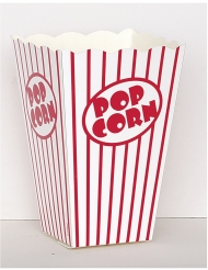 10 Boîtes à popcorn rayées blanches et rouges 10 cm