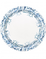 8 Assiettes en carton corail bleues 23 cm