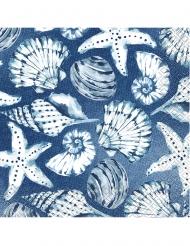 16 Serviettes en papier corail bleues 33 x 33 cm