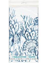 Nappe en plastique corail bleue 137 x 213 cm