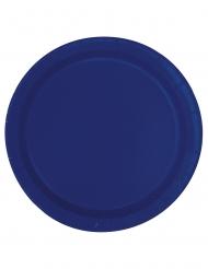 20 Petites assiettes en carton bleu marine 18 cm