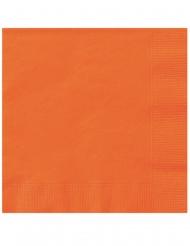 20 Petites serviettes en papier oranges 25 x 25 cm