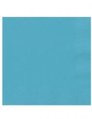 20 Petites serviettes en papier bleu turquoise 25 x 25 cm