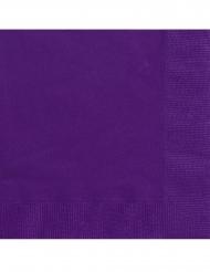 20 Petites serviettes en papier violet foncé 25 x 25 cm