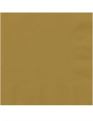 20 Petites serviettes en papier dorées 25 x 25 cm