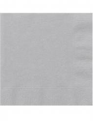 20 Petites serviettes en papier argentées 25 x 25 cm