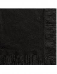 20 Petites serviettes en papier noires 25 x 25 cm