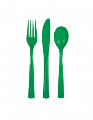 18 Couverts en plastique vert émeraude