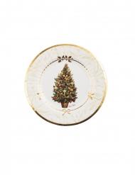 8 Petites assiettes en carton arbre de noël blanc et or 21 cm