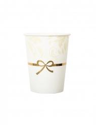 8 Gobelets en carton blancs et dorés 250 ml