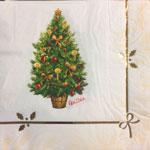 16 Serviettes en papier arbre de noël blanches 33 x 33 cm