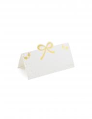 10 Marques places en carton blancs et dorés 10 cm