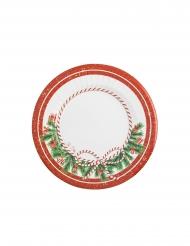 8 Assiettes en carton happy christmas blanc et rouge 21 cm