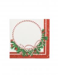 16 Serviettes en papier happy christmas blanc et rouge 33 x 33 cm