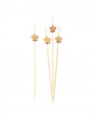 25 Pics en bois étoiles dorées 12 cm