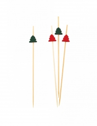 25 Pics en bois sapins rouges et verts 12 cm