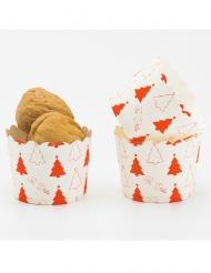 20 Moules à cupcake en papier sapins rouges 5 cm