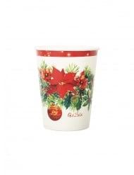 8 Gobelets en carton joie de noël blancs et rouges 250 ml