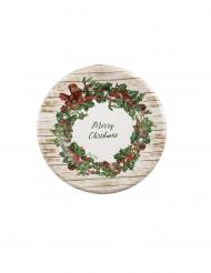 8 Petites assiettes en carton merry christmas rustique 21 cm