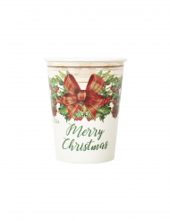 8 Gobelets en carton merry christmas rustique 250 ml