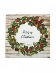 16 Serviettes en papier merry christmas rustique 33 x 33 cm