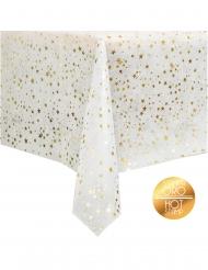 Nappe en tissu non tissé blanche et étoiles dorées 140 x 240 cm