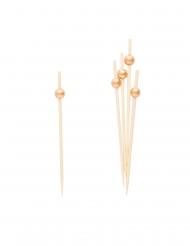 25 Pics en bois perles dorées 12 cm