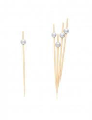 25 Pics en bois perles argentées 12 cm