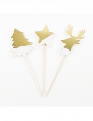8 Pics en bois sapin, étoile et renne dorés 10 cm