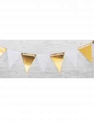 Guirlande en carton fanions blancs et dorés 3 m