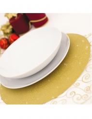 4 Sets de table en carton dorés pailletés 33 cm