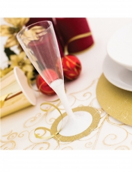 6 Dessous de verre en carton dorés pailletés 8,5 cm
