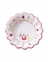 8 Petites assiettes en carton funny christmas blanches 24 cm