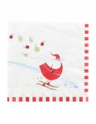 16 Serviettes en papier funny christmas blanches 33 x 33 cm