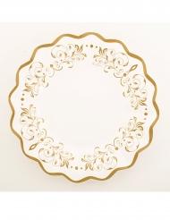 8 Assiettes en carton blanches et festonnées dorées 27 cm