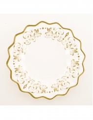 8 Petites assiettes en carton blanches et festonnées dorées 21 cm