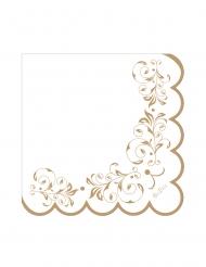 16 Serviettes en papier blanches et festonnées dorées 33 x 33 cm