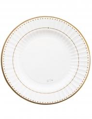8 Assiettes en carton gold grace blanches et dorées 27 cm