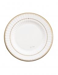 8 Petites assiettes en carton gold grace blanches et dorées 21 cm