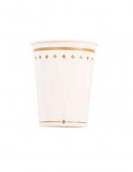 8 Gobelets en carton gold grace blancs et dorés 250 ml