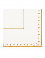 16 Serviettes en papier gold grace blanches et dorées 33 x 33 cm