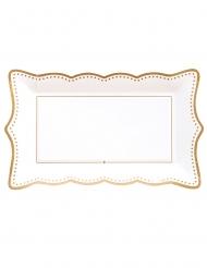 4 Plateaux en carton gold grace blancs et dorés 30 x 18 cm