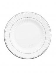 8 Petites assiettes en carton silver grace blanches et argentées 21 cm