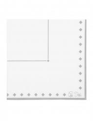 16 Serviettes en papier silver grace blanches et argentées 33 x 33 cm
