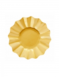 8 Petites assiettes en carton dorées satinées 21 cm