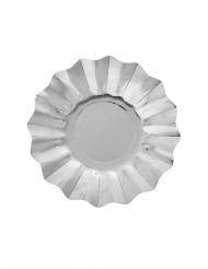 8 Petites assiettes en carton argentées métallisées 21 cm