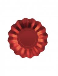 8 Petites assiettes en carton rouges satinées 21 cm