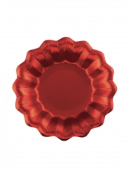 8 Assiettes en carton rouges satinées 24 cm