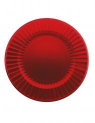 6 Grandes assiettes en carton rouges 33 cm