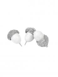 10 Glands décoratifs métallisés argentés 2,8 cm